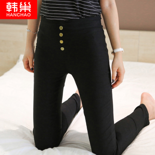 韩版春秋季外穿不加绒黑小脚打底裤薄款百搭显瘦紧身女裤2016新款