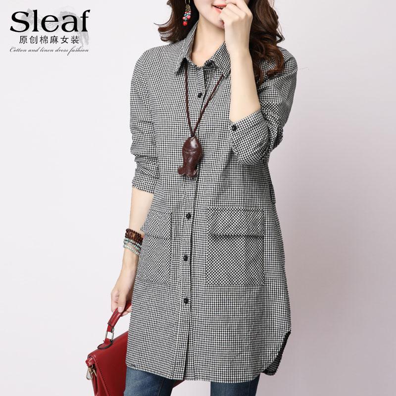 春季韩版大码开衫长袖女装外套宽松休闲棉麻格子衬衫女中长款上衣