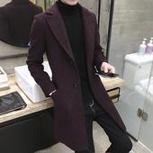 春秋季春款风衣男中长款男士外套韩版修身加厚新款青年毛呢子大衣