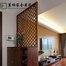 美式实木镂空雕花板隔断 实木花格屏风 通花板 进门玄关 入户隔断