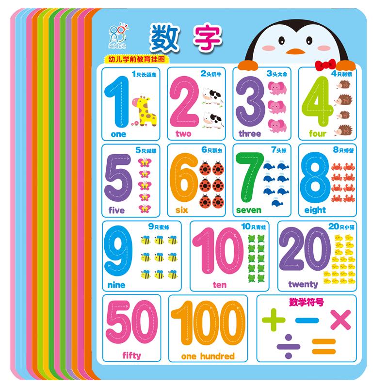 宝宝识字 无声挂图0-3-6岁婴幼儿童认知启蒙早教书看拼音数字墙贴