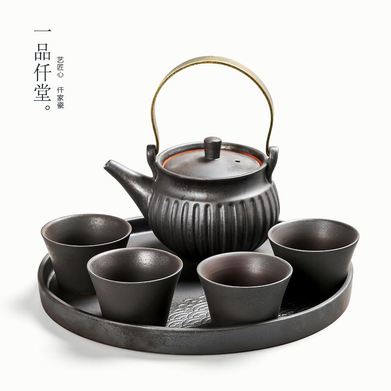 一品仟堂  功夫茶具套装日式粗陶一壶四杯办公茶具陶瓷茶盘煮茶壶