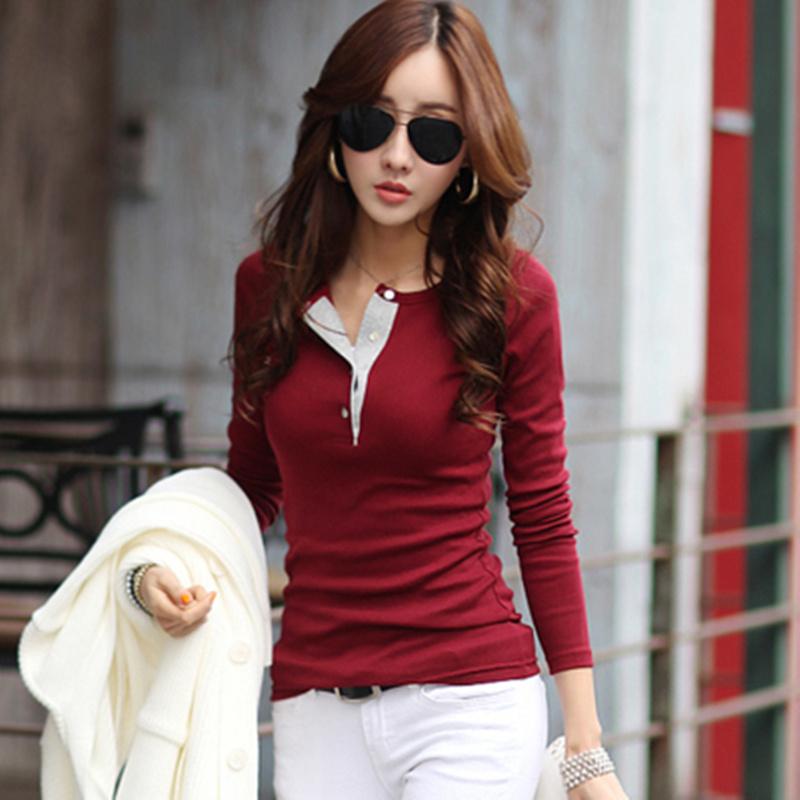 女士t恤秋冬季2015新款韩版大码V领外穿显瘦上衣纯棉打底衫女长袖