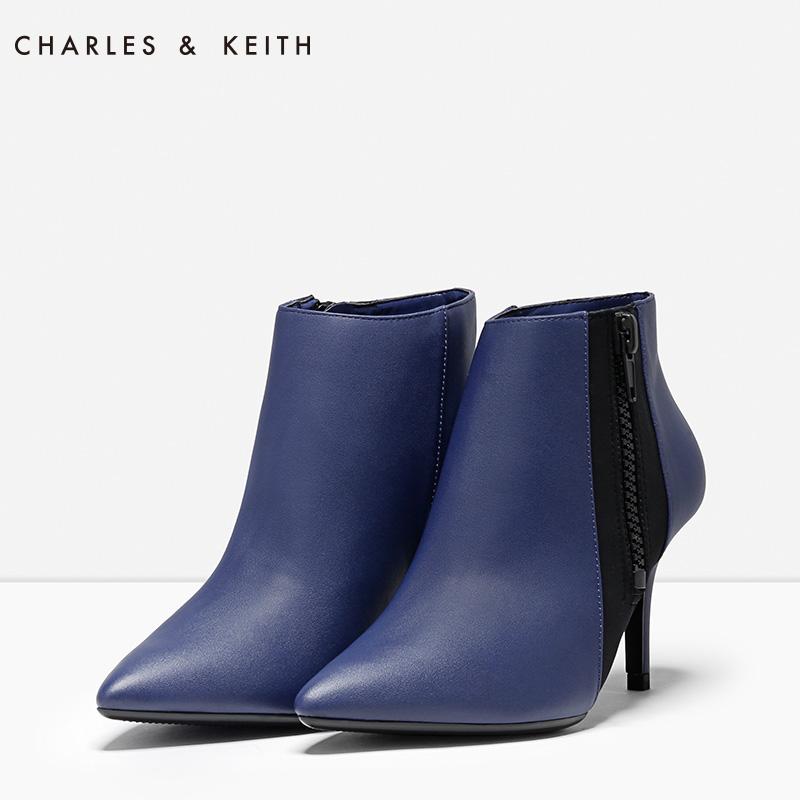 CHARLES&KEITH 踝靴女 CK1-90360202 尖头细高跟时尚通勤短筒靴女