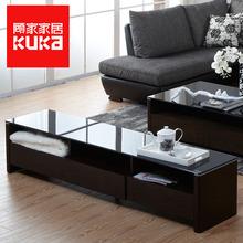 顾家家居 客厅成套家具简约现代钢化玻璃茶几电视柜组合1277图片