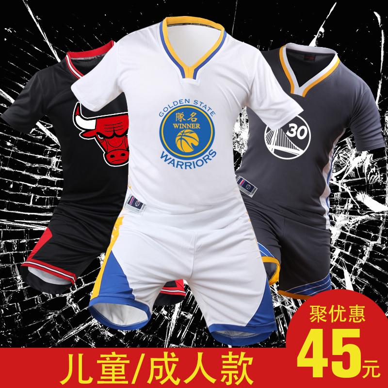 新款短袖篮球服套装男空板定制篮球衣队服印字印号DIY库里篮球服