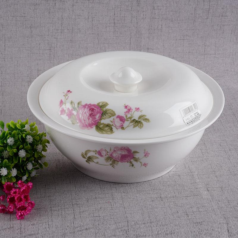 靓影陶瓷带盖大汤碗超大汤盆9寸品锅中式家用骨瓷餐具微波炉加热