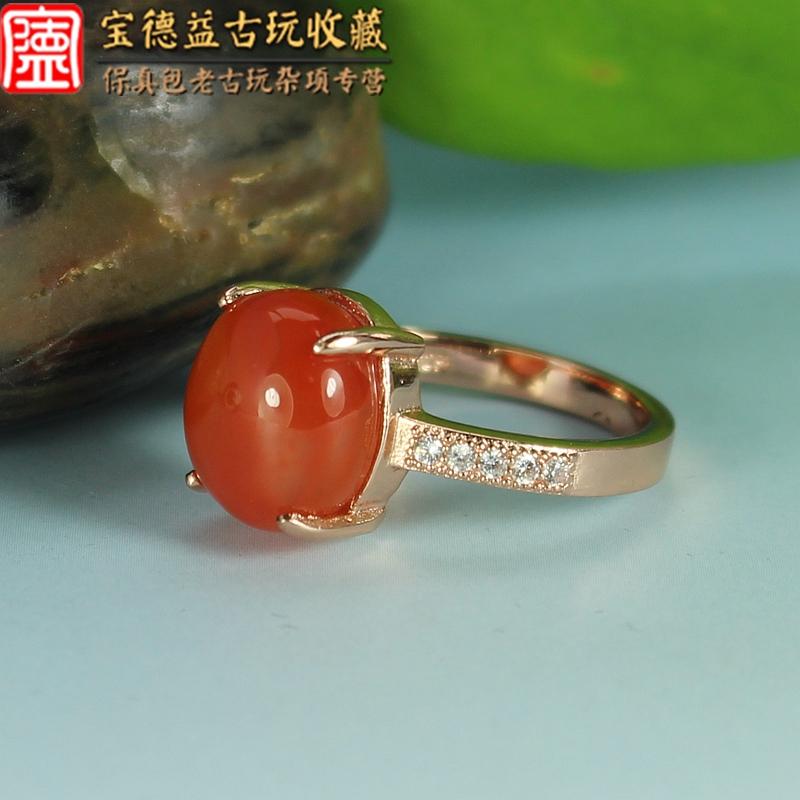 保真纯银彩金镶嵌南红玛瑙女士戒指  5号 满肉 珠宝玉石 首饰彩宝