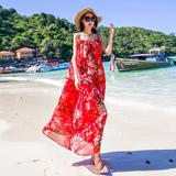 夏雪纺碎花大码显瘦中长款吊带连衣裙波西米亚海边度假长裙沙滩裙