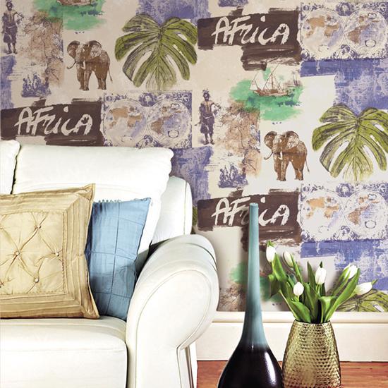 米冠东南亚壁纸异域风情吉祥大象芭蕉叶卧室客厅电视背景纯纸墙纸