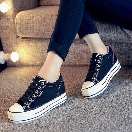 人本女鞋黑色松糕帆布鞋女厚底内增高小白鞋韩版百搭布鞋白色球鞋商品大图