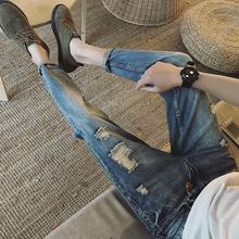春季新款九分牛仔裤男青年小脚修身型韩版破洞哈伦裤9分裤子潮流