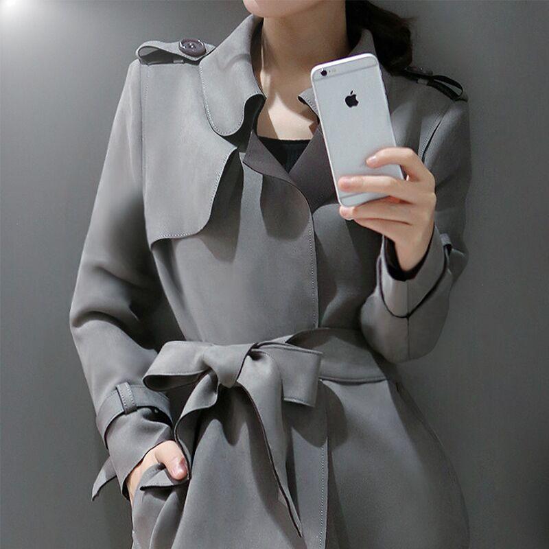 2015新款秋装女装春秋季气质上衣鹿皮绒大衣英伦中长款风衣女外套