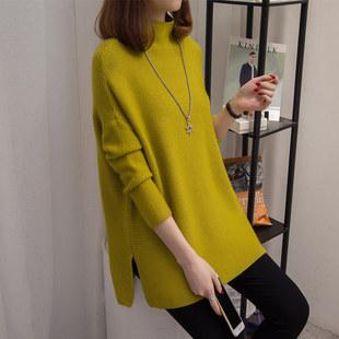 毛衣女春秋中长款半高领宽松打底衫韩版套头长袖针织衫新款潮外套