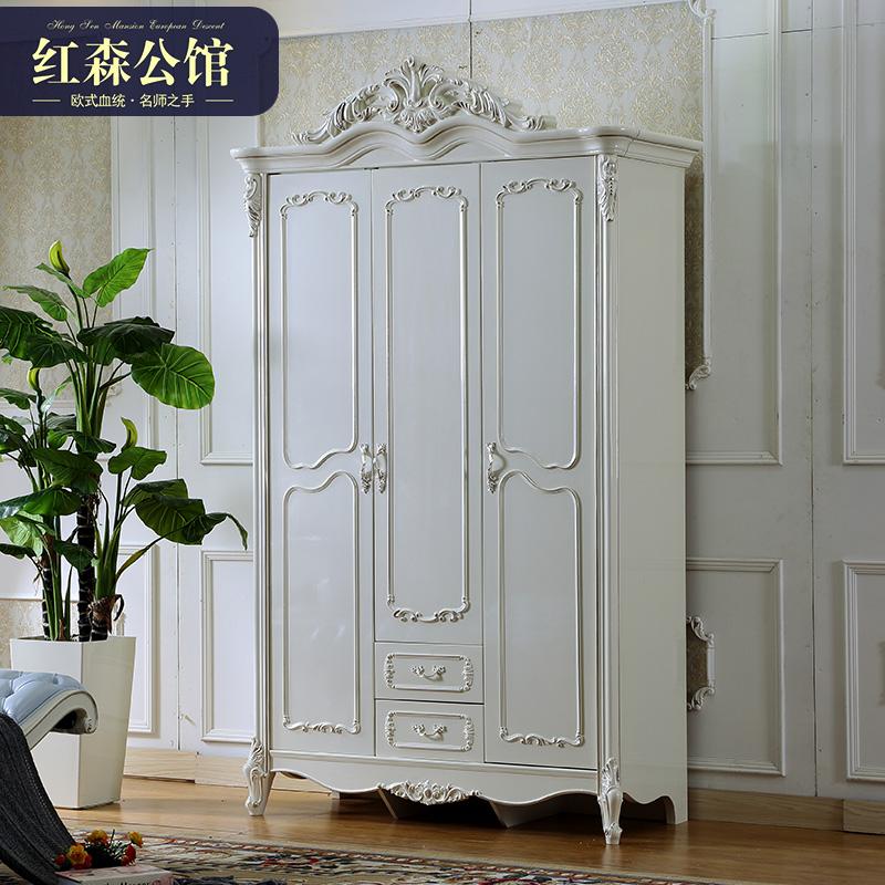 实木欧式别墅三门大衣橱法式整体白色卧室衣柜8801