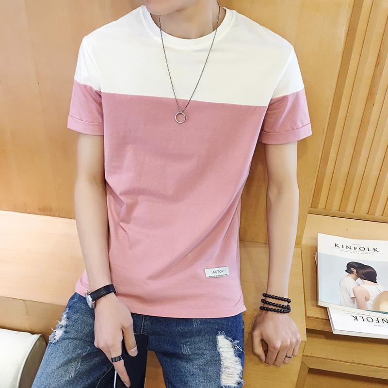 夏季男士圆领短袖男 t恤韩版修身潮流学生体恤青少年男装半袖衣服
