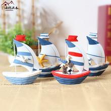 迷你彩色铁皮小帆船家居装 饰摆件拍摄道具婚庆礼物礼品 地中海风格