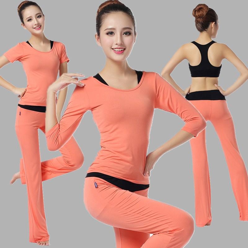 莫代尔专业白色瑜伽服套装秋冬三件套女显瘦健身房跑步运动健身服