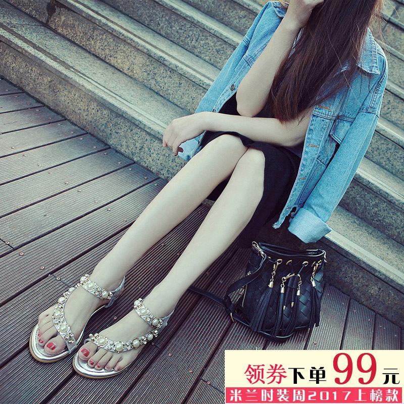 波西米亚平学生夏韩版女鞋凉鞋水钻平底沙滩