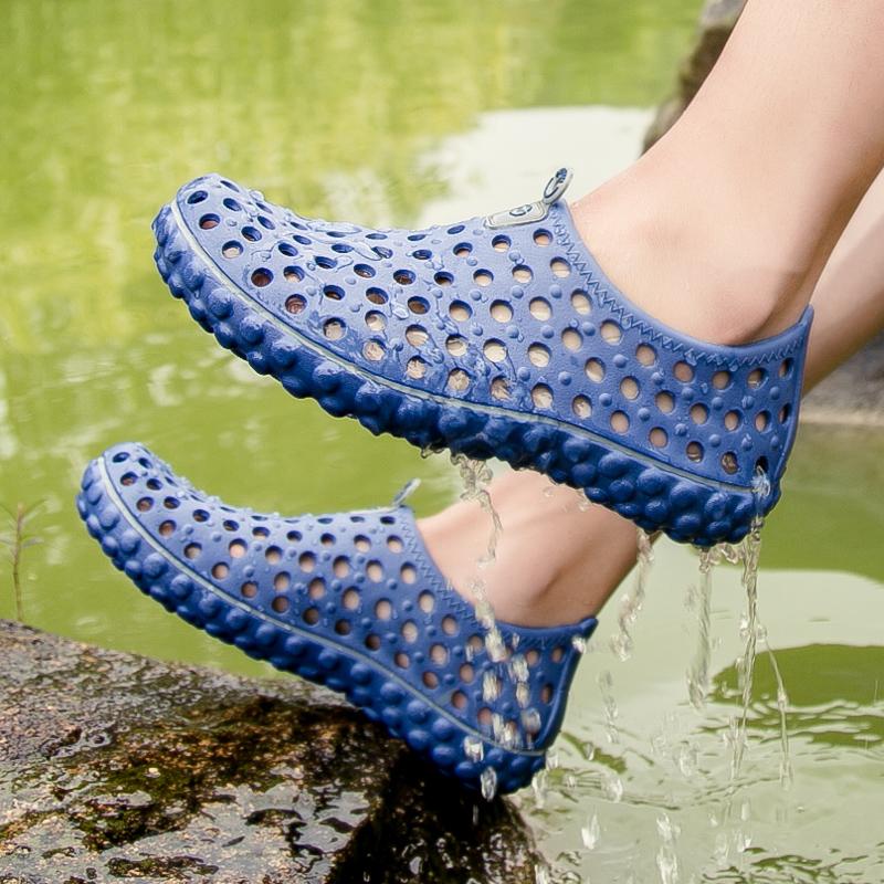 雅煊秋季新品纯色洞洞凉鞋一脚蹬户外涉水速干运动休闲鞋防滑男鞋