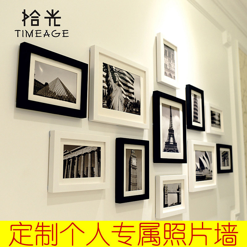 黑白照片墙相片墙相框墙创意组合简约现代欧式客厅相框挂墙可定制