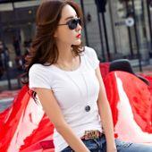 韩版白色纯棉圆领T恤女短袖夏季上衣修身纯色百搭打底衫简约体恤