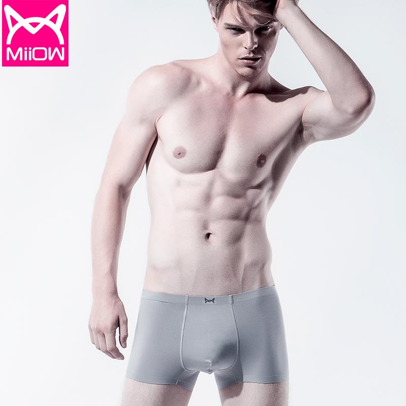 MiiOW/猫人男士内裤平角裤莫代尔面料无痕青年透气裤头男式四角裤