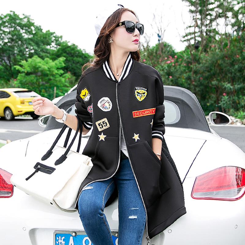 欧洲站2015新款秋装棒球服女中长款韩版学生潮大码太空棉外套风衣