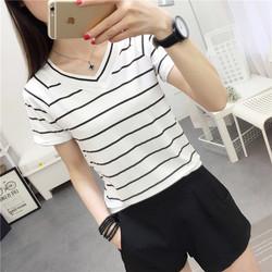 太安莉夏季韩版黑白条纹V领短袖T恤女装上衣短款打底衫修身显瘦潮