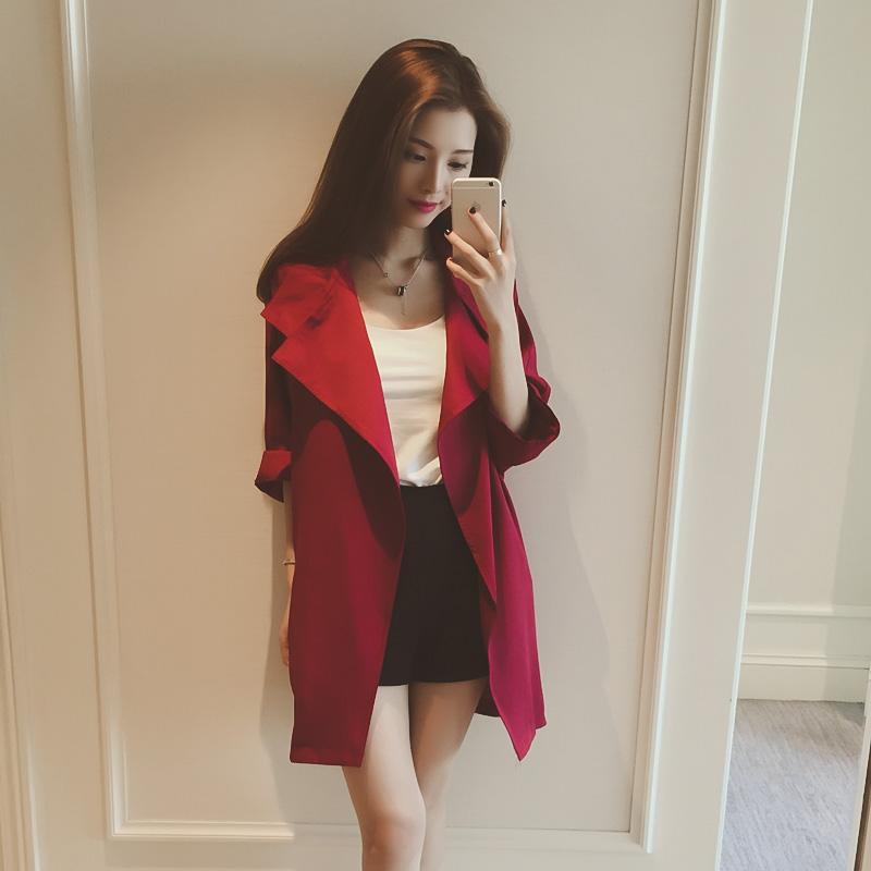 2015秋装新款韩版宽松中长款外套大翻领七分袖开衫风衣女新品上衣
