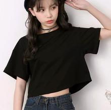 宽松露肚脐棉质圆领韩版 黑色夏上衣 露脐装 短袖 纯白色t恤女短款