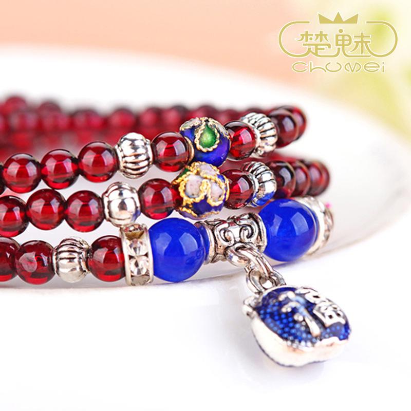 楚魅珠宝水晶首饰品 全天然女式时尚石榴石手链 4.5M多圈手串