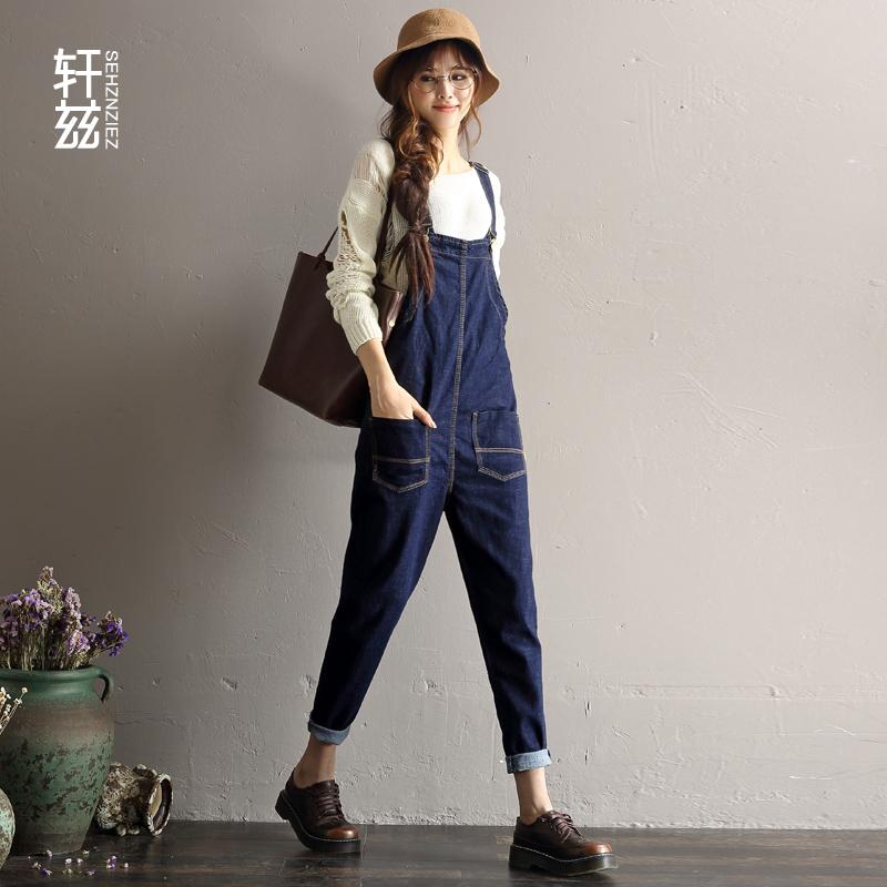 轩兹新款牛仔背带裤女宽松垮裤哈伦裤韩版学生吊带连体裤高腰长裤