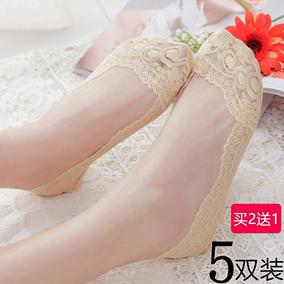 蕾丝船袜女袜夏季薄款隐形浅口袜套棉网袜短袜硅胶防滑低帮袜子女
