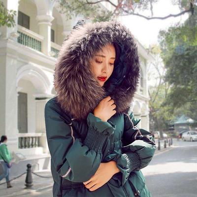 大毛领羽绒服女装中长款冬季2017新款韩版潮时尚韩国宽松加厚外套