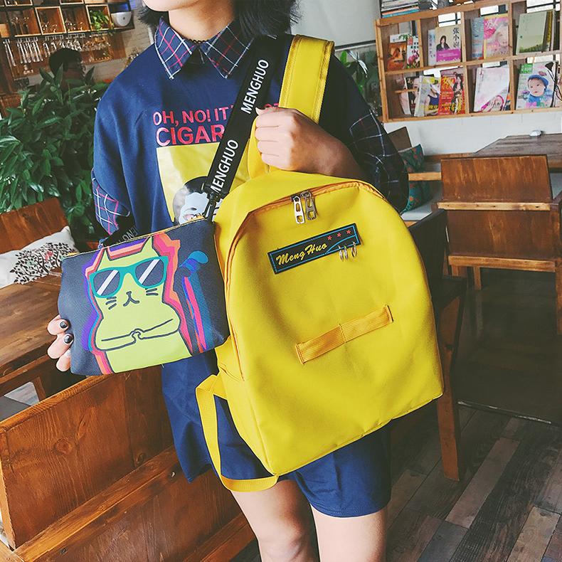 简约校园女韩版原宿高中学生双肩帆布书包