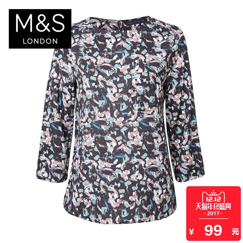 马莎玛莎 女秋装新款花朵印花七分袖衬衫 T437527X