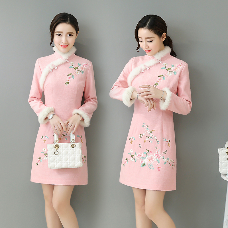 冬季2016新款旗袍连衣裙女复古改良修身中国风女装中长款加厚祺袍
