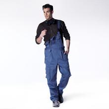 夏季工装 男制服纯涤棉耐磨汽修连体工作服宽松大口袋多 背带裤 包邮