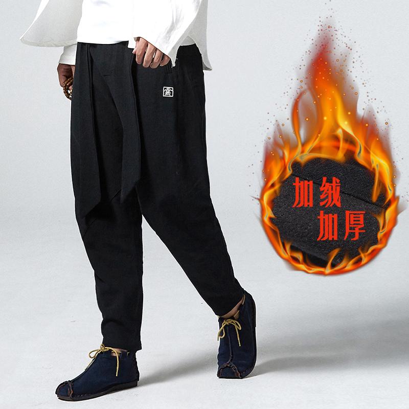 中国风男装加绒亚麻裤大码胖子哈伦裤男裤宽松休闲小脚裤冬季春季