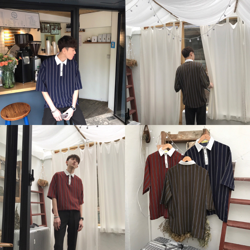 【JM】复古风 三色入 丝光面料 纽扣装饰 白色翻领条纹polo衫男女