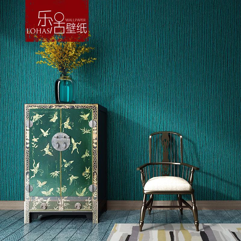 简约纯色素色孔雀蓝色墙纸高档餐厅服装酒店奢华深压纹仿皮纹壁纸