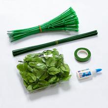 DIY手工材料仿真花杆绿色胶包花杆子 缎带丝带玫瑰花纸花丝袜网花