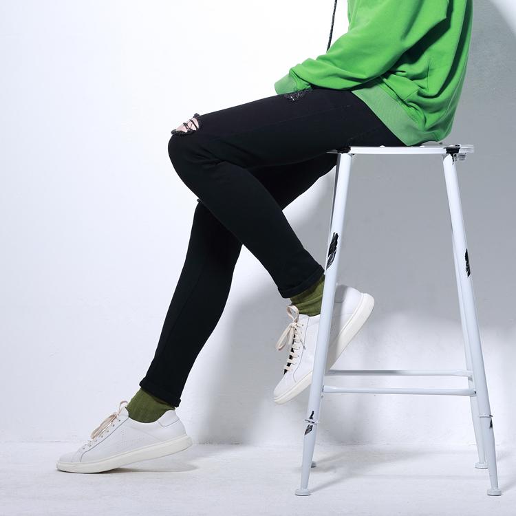 韩版 潮男磨破洞铅笔小脚裤弹性黑色修身乞丐个性弹力水洗牛仔裤