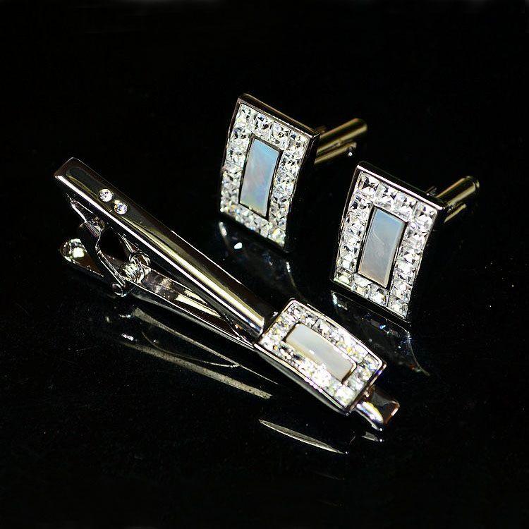 奥地利白水晶镶贝袖扣领带夹套装 出口订单高档商务男士配饰礼物