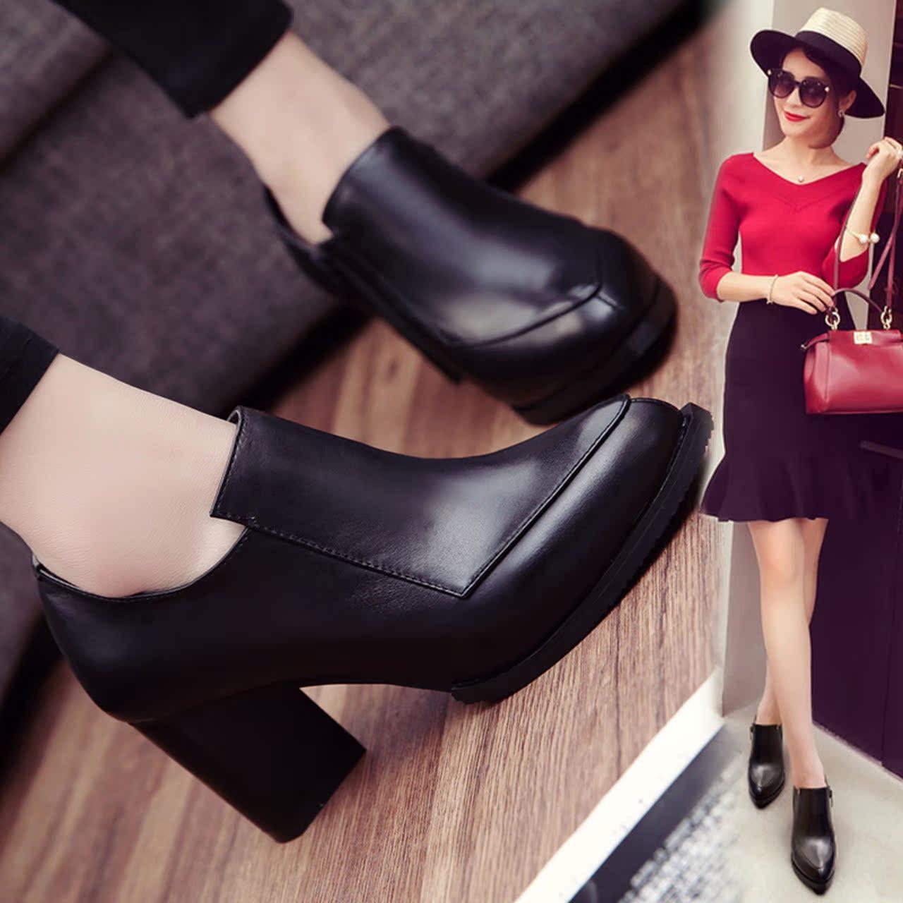 欧美2016新款春秋季女鞋舒适头层牛皮尖头高跟鞋真皮粗跟单鞋子潮 - 女鞋秋高跟