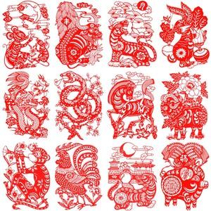 整套12张梦龙非遗纯手工十二生肖学校幼儿园作品装饰剪纸画 23cm图片