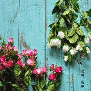 MEMA  满8枝包邮 灿烂小玫瑰 含苞小玫蕾 仿真花 F510