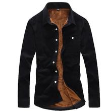 韩版 加厚 纯棉灯芯绒加绒保暖衬衫 男士 长袖 冬季男装 条绒保暖衬衣