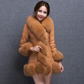 大码仿皮草女装外套2016冬季韩版中长款狐狸毛领羽绒棉服保暖大衣